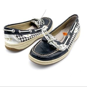 Sperry Angelfish Houndstooth Boat Shoes Size 8.5M